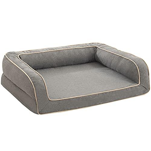 Accotia 犬ベッド 猫ベッド オールシーズン ペットベッド ペットソファー ふわふわ ひんやり ぐっすり眠る ペットクッション クッション性が カバー取り外し 洗える 滑り止め もこもこ (M-小型犬)
