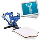 VEVOR Screen Printing Press 4 Color 1 Station and 4 Pieces 20x20 Inch Aluminum Silk Screen Printing Frames with White 110 Count Mesh