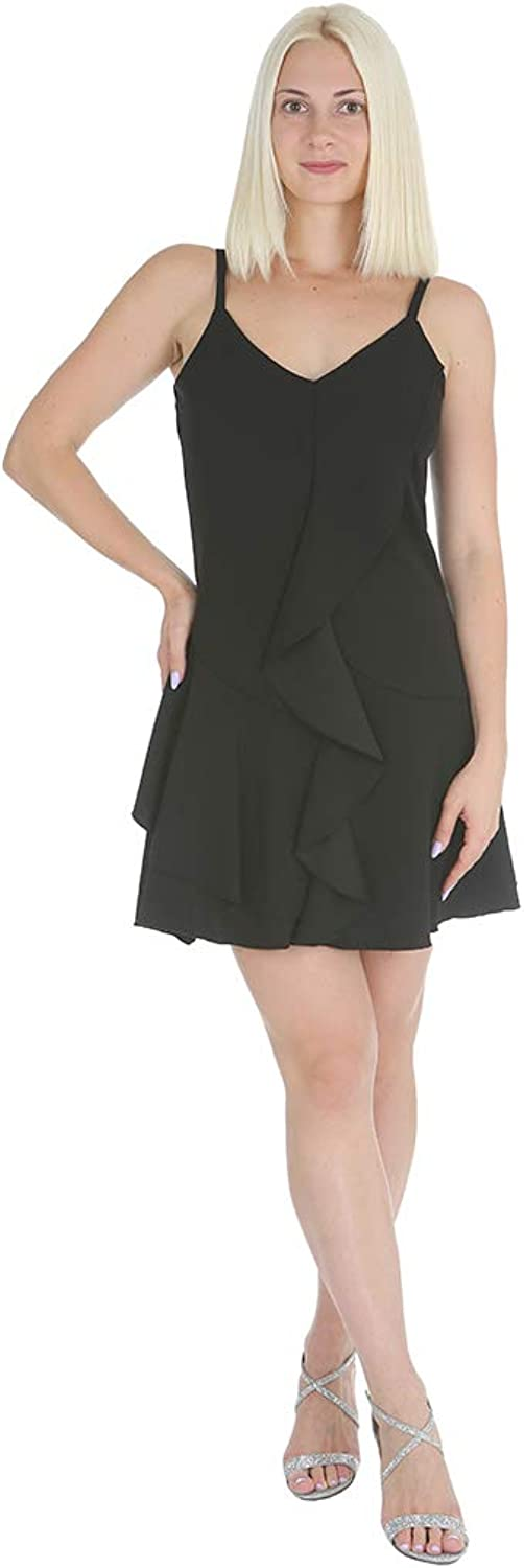 Bebe Women's Front Ruffle Down ALine Dress