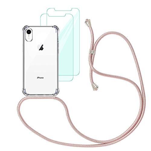 Yohii Funda con Cuerda Compatible con iPhone XR y [2 Pack] Cristal Templado Protector de Pantalla, Carcasa Transparente TPU Suave Silicon Colgante Ajustable Collar - Oro Rosa