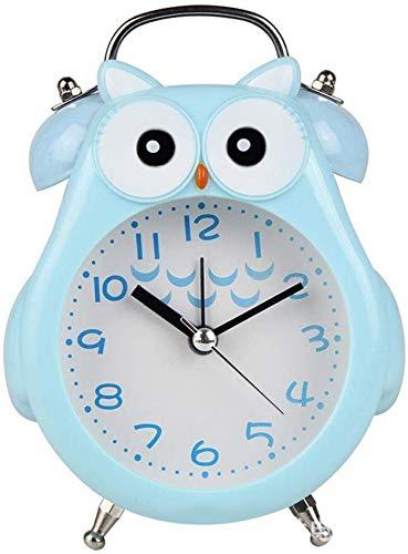 rzoizwko Regalo Creativo Búho Reloj Despertador Digital de Metal Reloj Despertador de cabecera Sin tictac para Dormitorio Funciona con Pilas (Utilice la batería de Carbono n. ° 5)