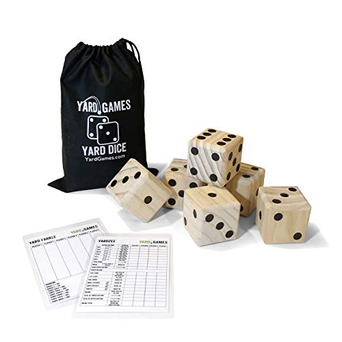Yard Games Large 2.5  Wooden Yard Dice with Laminated Yardzee and Yard Farkle | Includes 6 Dice with Durable Carrying Case