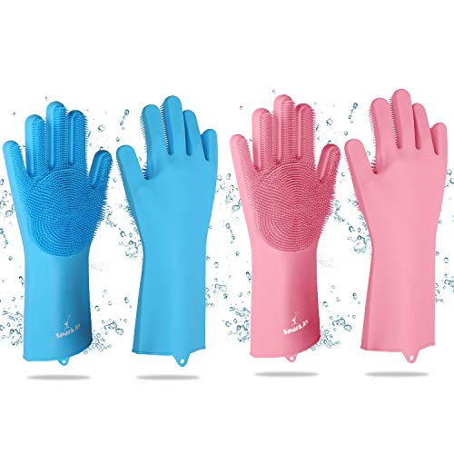 Scrubber de limpeza de louça reutilizável de silicone para pratos da SPARKJOY, Blue, Pink, 2 Pair (Pack of 1)
