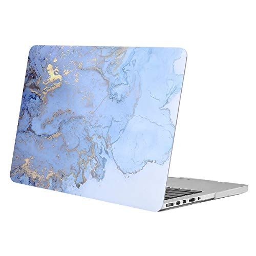 MOSISO Plastic Watercolor Marble Hard Shell Case Only Compatible with MacBook Pro 15 inch Case with Retina Display (Model: A1398, Older Version, 2015 - end 2012 Release), Blue