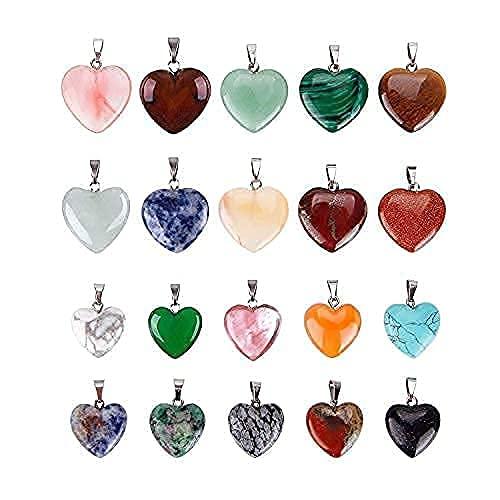 Reccisokz - 20 colgantes de piedras en forma de corazón, cuentas de chakra, abalorios de cristal, 2 tamaños diferentes, varios colores