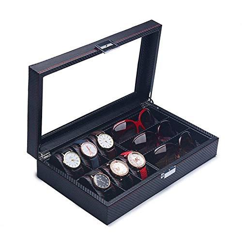 ZYING Ranura Caja de Reloj de Cuero Vitrina Organizador Almacenamiento de Joyas de Vidrio Negro, Cuero de PU con Tapa de Vidrio, Grande (Size : B)