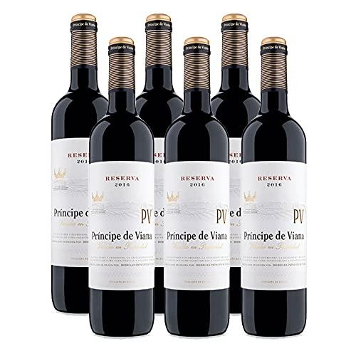 Vino tinto Principe de Viana Reserva de 75 cl - D.O. Navarra - Bodegas Principe de Viana (Pack de 6 botellas)