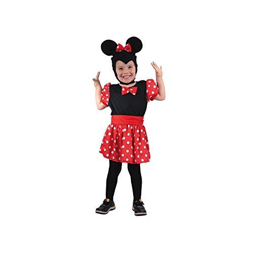 Déguisement souris rouge et noire minnie enfant 2-4 ans (robe, coiffe, ceinture)
