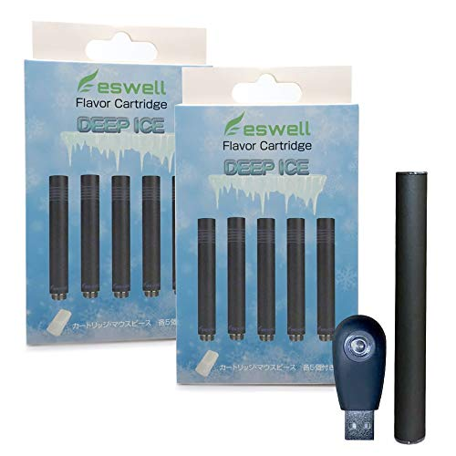 【eswell】プルームテック 互換 カートリッジ 5本入り 2箱セット 510バッテリー&充電器付き! ploom tech カプセル対応 スターターキット フレーバー4種 (ディープアイス)
