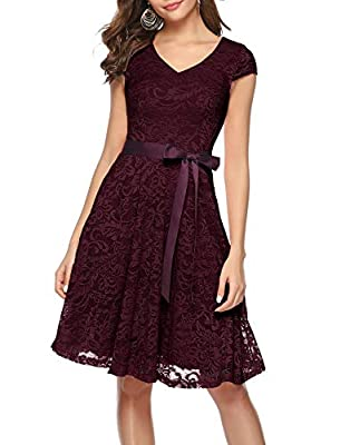 BeryLove Women's Floral Lace Short Bridesmaid Dress Cap Sleeve Cocktail Party Dress BLP7006BurgundyM