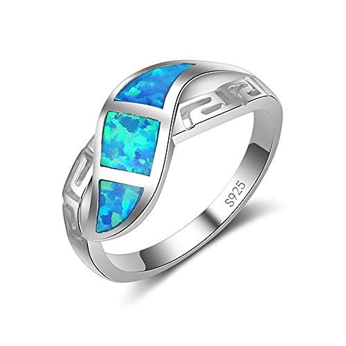 Anillo ZIYUYANG, joyería de compromiso de boda de plata esterlina para hombres y mujeres, ópalo de fuego azul hueco, fiesta sexta