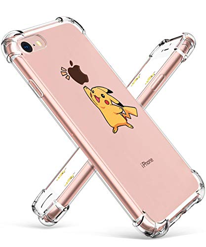 Allsky Case for iPhone 6 Plus/6S Plus 5.5',Clear Cartoon Design Designer Pattern Soft Cute Fun Ultra-Thin Cover,Kawaii Kids Girls Animal Skin Creative Shockproof Funny Cases for iPhone 6Plus Pikachu