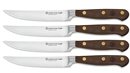 Wüsthof Steakmessersatz, Crafter (9738), 4-teilig, 12 cm Klingenlänge, Holzgriffe aus Räuchereiche, rostfrei, geschmiedet, sehr scharf