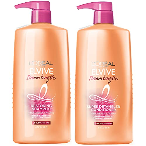 L'Oreal Paris Elvive Dream Lengths Shampoo and Conditioner Kit for Long, Damaged Hair (Set of 2)