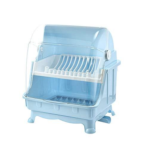 Ykun Caja de Almacenamiento de Estante para Platos de Cocina, Palillos de y Platos con Tapa, escurridor de, Armario-Azul (Doble Capa) Nuevo