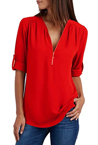 Damen Chiffon Blusen Elegante Reißverschluss Langarmshirts Bluse Tunika Oberteile T-Shirt V-Ausschnitt Tops A Rot 4XL