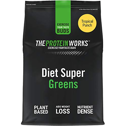 THE PROTEIN WORKS Diet Super Greens Powder   7 Greens   Nutrient Dense Detox Shake   Supports Immune System   Tropical Punch   250 g