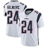 ZGRW Patriots # 24 Gilmore Maillot de rugby américain brodé et respirant à manches courtes pour homme et adulte Blanc B-XXXL