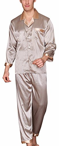 Yanqinger Herren Schlafanzug aus Kunstseide Pyjama Langen Ärmeln Nachthemd + Pyjamahose Zweiteiliger Elegant Paisley Homewear Größe XL - Beige