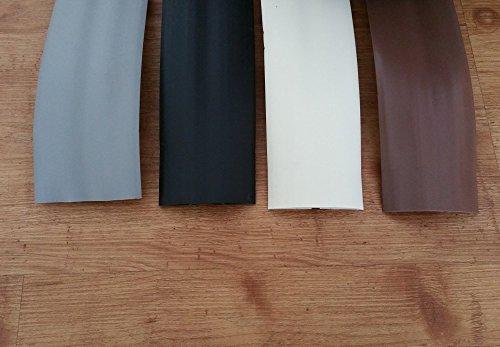 netproshop Fußboden Kabelkanal PVC (Flexibel, Selbstklebend, 75,2x17,4mm) (1,83 Meter), Farbe:Schwarz