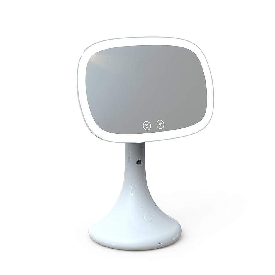 柔和正確さ傷跡スマートミラー水和機器ナノスプレーポータブルポータブルライト女性の美しさデスクトップデスクトップ化粧ランプミラー (Color : White)