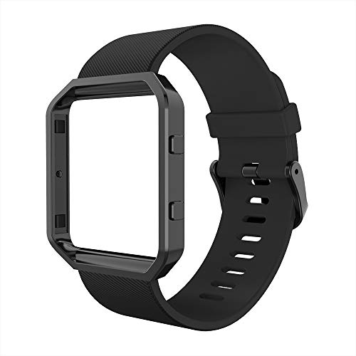 Simpeak Sport Band Compatible with Fitbit Blaze Smartwatch Sport Fitness, Silicone Wrist Band with Meatl Frame Replacement for Fitbit Blaze Men Women, Large, Black Band+Black Frame