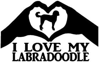 weilong15 cm91 cm I Love My Labrador Hartvormige Hand Decoratie Vinyl Auto Sticker Sticker C1000259Zwart