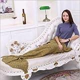 UKKO Mantas para Sofa Manta De Cola De Sirena Manta De Sirena De Crochet para Adultos Super Suave Todas Las Estaciones Mantas Tejidas para Dormir-Yellow,180X80Cm Adults