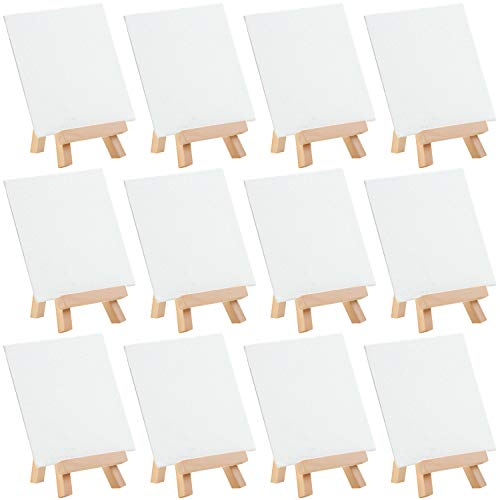 MEEDEN 4 by 4 Inch Mini Canvas Panels Combined with 3 by 5 Inch Tiny Pine Wood Easels Set for Paintings Craft Small Acrylics Oil Projects, Pack of 12
