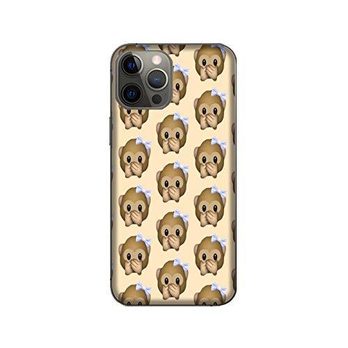 Funda iPhone 12 Pro MAX Carcasa Compatible para Apple iPhone 12 Pro MAX Whatsapp Emoticon de Mono pequeño no Habla/Dorso de Vidrio con Goma en los Lados/TPU Antideslizante Antideslizante Antiara�
