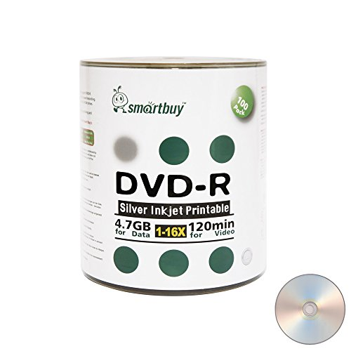 Smart Buy 100 Pack DVD-R 4.7gb 16x Silver Printable Inkjet Blank Record Disc, 100 Disc 100pk