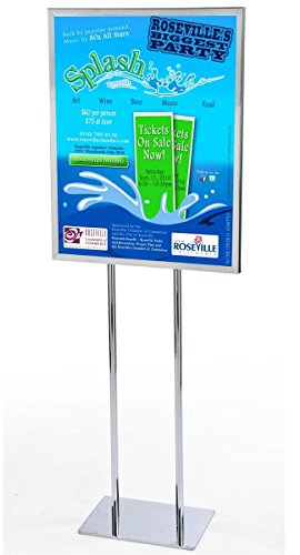 Displays2go Free-Standing Metal Poster Frame for 22 x 28 Posters, Chrome Finish, Top Loading Sign Stand with Two-Legged Post (EMPS2228CL)