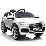 HOMCOM Coche Eléctrico para Niño +3 Años Audi Q5 con Mando a Distancia MP3 Luces y Sonidos Apertura de Puerta 116x75x56cm Carga 30kg