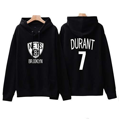 Sudaderas con Capucha De Baloncesto para Hombres Y Mujeres, NBA Brooklyn Nets 7# Kevin Durant Camisetas Baloncesto Manga Larga Cómodas Sudaderas con Capucha Exteriores,Negro,S
