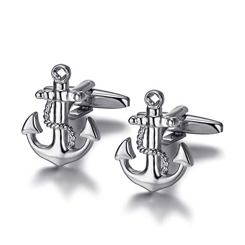 BOBIJOO Jewelry - Paar Manschettenknöpfe Anker Marine Benetzung Hoffnung Silber
