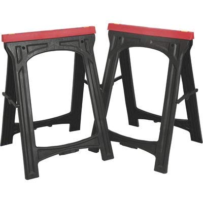 Ironton Plastic Foldable Sawhorses, 1 Pair - 700-Lb. Total Capacity
