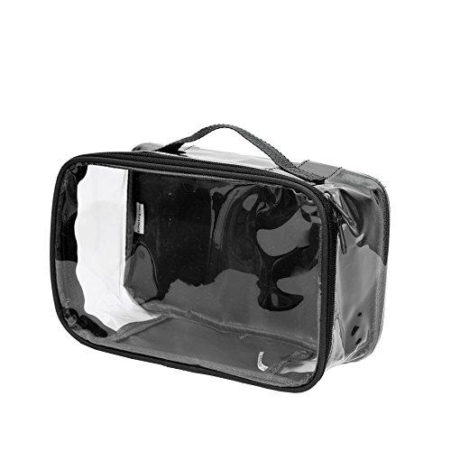 Clear Toiletry Makeup Bag, Cosmetic Organizer, Travel Case, PVC Plastic w/ Handle (Black)