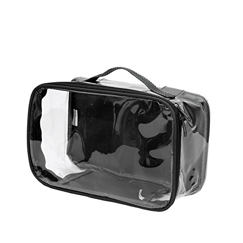 Clear Toiletry Makeup Bag, Cosmetic Organizer, Travel Case, PVC Plastic w/ Handle (Black)