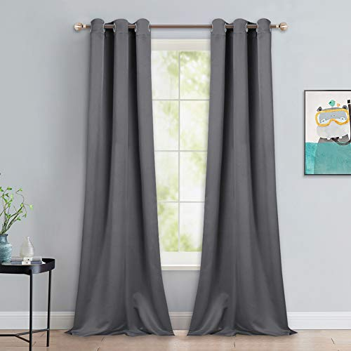 NICETOWN Thermal Insulated Blackout Curtains - Grommet Top Window Treatment Drapes for Hall (2 Panels, W42 x L90 inches, Grey)