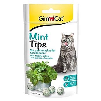 GimCat Mint Tips – Snack pour Chats sans céréales et Riche en vitamines à la Menthe à Chat savoureuse – Lot de 1 (1 x 40 g)