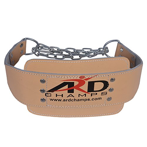 ARD Heavy Duty Leather Weight Lifting Dipping Belt with Chain Brown