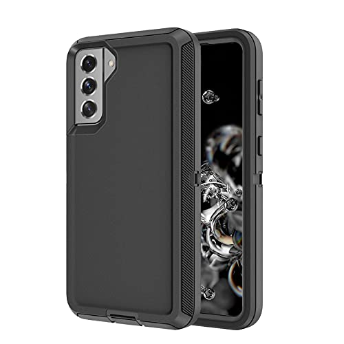Szfirstey for Galaxy S21 Case, Drop Protection Full Body Rugged Shockproof/Dust Proof 3-Layer Military Protective Tough Durable Phone Cover Heavy Duty for Samsung Galaxy S21 (Black)