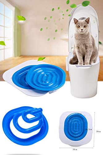 Katzen Toiletten Trainingssystem Toiletten Trainings Kit Toilettentrainer Heimtier Trainings Toilettensitz für Katzen Katzen WC-Sitz Toiletten Training System Katzentoilette Katzenklo