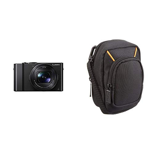 Panasonic DMC-LX15EG-K Lumix Premium Digitalkamera (20,1 Megapixel, Leica DC Vario Summilux Objektiv F1.4-2.8/24-72mm) und Amazon Basics Kameratasche für Kompaktkameras, groß, 3.9 x 2.4 x 5.7 Zoll