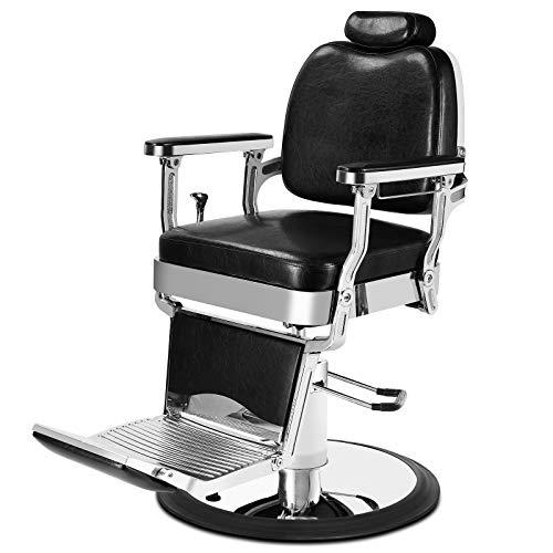 Artist Hand Heavy Duty Vintage Barber Chair All Purpose Hydraulic Recline Black Salon Beauty Spa Styling Equipment