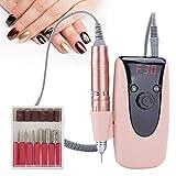Lima de taladro de uñas eléctrica de 30000 rpm, herramientas de forma de pulido de manicura y pedicura para pulir pulido y varias manicuras, máquina taladro uñas con velocidad pantalla LED(EUplug)