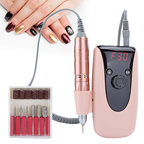 30000rpm Electric Nail Drill File, Manicure Pedicure Polishing Shape Tools for Grinding Polishing and Various Manicures, Nail Drill Machine with Led Display Speed(USplug)
