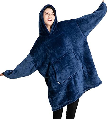 Keepgo Huggle Sudadera con Capucha Pullover Sudadera con Capucha Manta de Franela Azul