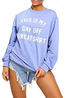 ZEE FASHION New Womens Oversize This is My Day Off Sweatshirt Top Jumper UK 8-14