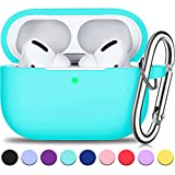 AirPods Pro Case Cover with Silver Keychain, Full Protective Silicone AirPods Accessories Skin Cover for Women Men Girl with Apple 2019 Latest AirPods Pro Case, Front LED Visible-Mint Green